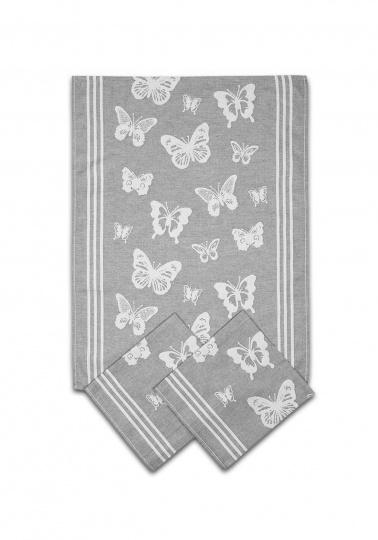 Utěrka egyptská bavlna MIX - 50x70 Motýlci šedá