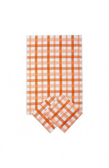 Utěrka egyptská bavlna MIX - 50x70 káro barevné oranžová