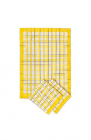 Utěrka egyptská bavlna MIX - 50x70 káro barevné žluté
