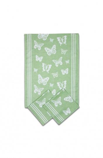 Utěrka egyptská bavlna MIX - 50x70 Motýlci zelená