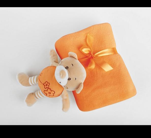 Dárková sada z mikrovlákna v taštičce Oranžový medvídek