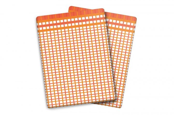 Utěrka Bambus M - malá kostka oranžovo-červená