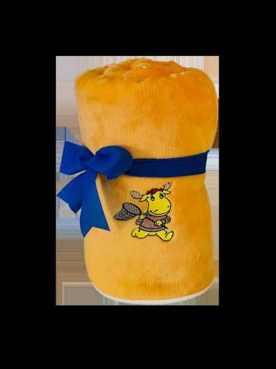 Dětská deka SLEEP WELL OVEČKA/Mikroflanel s výšivkou 100/150 žlutá